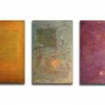 Untitled (triptych), 2004 : Oils and mixed media on silk, 720 x 460 mm each - SOLD